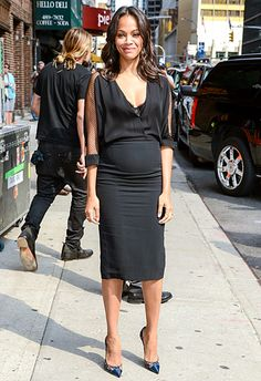 Saldana wore a ladylike Monique Lhuillier dress with sheer insets along the sleeves to tape The Late Show with David Letterman on July 30