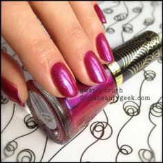 Revlon Spiderman Gwen's Crush Electric Chrome. Full collection swatched at imabeautygeek.com - just click thru!
