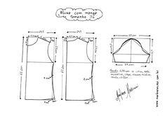 Esquema de modelagem de Blusa Básica tamanho 36.