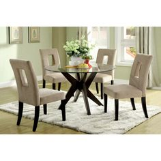 really like! @Overstock.com - Novae Round Tempered Glass Top Dining Table - This modern table features a glass top and a striking geometric espresso base. This table has an attractive design, perfect for any home.  http://www.overstock.com/Home-Garden/Novae-Round-Tempered-Glass-Top-Dining-Table/6613827/product.html?CID=214117 $422.99