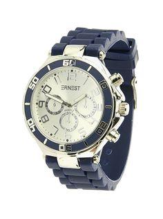 Ernest Horloge Zilver - Donkerblauw is een prachtig zilveren horloge met een blauwe kunststoffen band en een zilveren wijzerplaat.