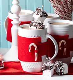 Melty marshmallows and homemade cocoa in a decorated mug: Perfect for a party or for Christmas morning! Details: http://www.midwestliving.com/food/breakfast/25-festive-brunch-recipes/?page=18