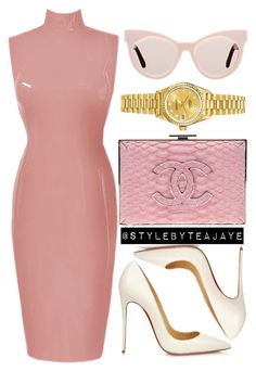 """Untitled #1625"" by stylebyteajaye ❤ liked on Polyvore featuring Chanel, Christian Louboutin, Karen Walker and Rolex"