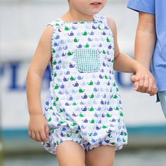 The Boys Nantucket Whale Romper for boys features a whimsical whale print, a fun pocket in blue and green gingham, and custom buttons. Shrimp And Grits Kids, Whale Print, Team Gifts, Whale Watching, Custom Buttons, Nantucket, Boutique Clothing, Gingham, Boy Or Girl