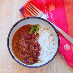 Dark Red Kidney beans Spicy Indian curry. Rajma
