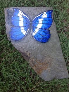 "Blue Butterfly ~ Hand Painted on Slate ~  Garden, Pond or Home Accent 7"" X 11"" ~ Love & Romance Feng shui"