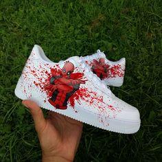 Deadpool custom air force one ,custom sneaker ,custom shoes Air Force One, Air Force Shoes, Nike Shoes Air Force, Air Force Sneakers, Custom Painted Shoes, Custom Shoes, Deadpool, Reflective Shoes, Painted Sneakers
