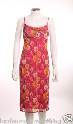RUBY ROX EMPIRE WAIST SPAGHETTI STRAP FUSHIA FLORAL MESH FABRIC WOMEN DRESS SZ M