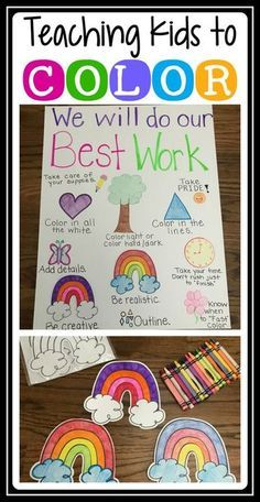 Week of School Activity for Grade: Teach your students HOW TO COLOR. It sounds silly, but you really need to model what you expect and teach students to take pride in their work- even their coloring! Kindergarten First Week, Kindergarten Anchor Charts, First Day Of School Activities, Kindergarten Lesson Plans, 1st Day Of School, Beginning Of The School Year, Kindergarten Writing, Student Teaching, Kindergarten Classroom