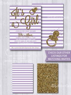 Baby Shower Invitation Pastel Purple & Gold - It's a Girl - Gender Reveal… Kylie Baby Shower, Baby Shower Purple, Gold Baby Showers, 1st Birthday Party Invitations, Birthday Party Decorations, Baby Shower Invitations, Birthday Parties, Invites, Baby Shower Princess
