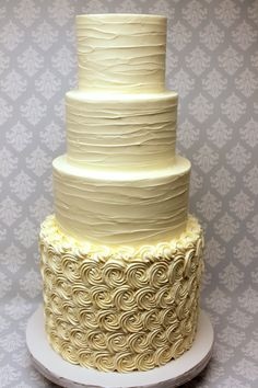 Buttercream rosettes pair beautifully with rustic buttercream! if the couple has this much fun with textures, who knows what flavors are on the inside! Wedding Stuff, Wedding Ideas, Chicago Wedding, Custom Cakes, Rosettes, Cake Ideas, Cake Toppers, Icing, Wedding Cakes
