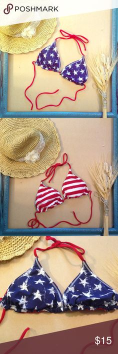 Stars & Stripes Reversible Bikini Top This red, white, and blue string bikini top is perfect for the 4th of July festivities! Blue with white stars on one side, red with white stripes on the other. Never was worn, only flaw is that the elastic is starting to poke through on two of the drawstrings (shown). No tag but XS. Don't forget to save $ and bundle!  Swim Bikinis