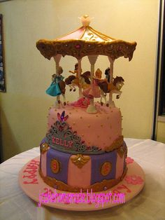 Disney Princess Carousel birthday cake by Jcakehomemade, via Flickr