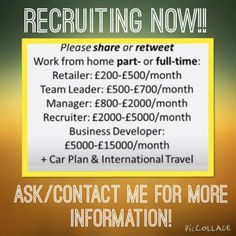 Forever Living Recruitment contact me 01302 376095 or visit www.foreverliberty.myforever.biz