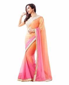 Glorious Peach And Pink Designer Saree
