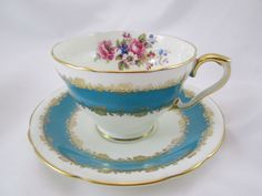 Vintage Aynsley Tea Cup and Saucer Turquoise Blue Florals
