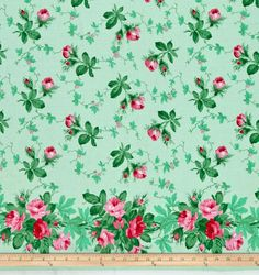 Verna Mosquera Peppermint Rose Holiday Garden Double Border Pine Fabric