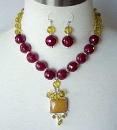Gemstone Artisan Statement Necklace Oxblood Red by laiseoriginals, $89.00