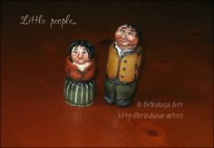 Brîndușa Art Little hobbit and wife, carved out of a shovel handle, and painted… Little People, The Hobbit, Painting On Wood, Decoupage, Shabby Chic, Childhood, Carving, Cottage, Gallery