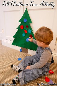 A giant felt Christmas tree for little ones to play with during the build up to Christmas. Educational Activities, Toddler Activities, Felt Christmas, Christmas Crafts, Sensory Play, Occupational Therapy, Elf On The Shelf, Fun Things, Little Ones