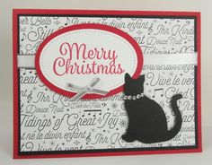 Stampin' Up! MERRY CHRISTMAS Cat Christmas Card Kit - Set of 4 Cards | eBay