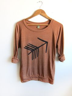 Tribal Arrow HAND STENCILED Slouchy Eco Heather by twostringjane