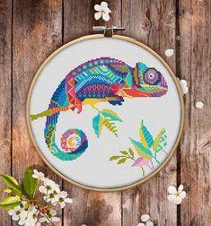 Mandala Chameleon Cross Stitch Pattern for Instant Download