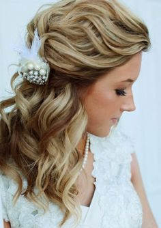 wavy hair half up half down prom for mid length - Google Search