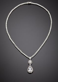 CZ BY KENNETH JAY LANE              Double Drop Pear Necklace