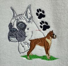 BOXER DOGS SHADOWS - EMBROIDERED HAND TOWELS by Susan