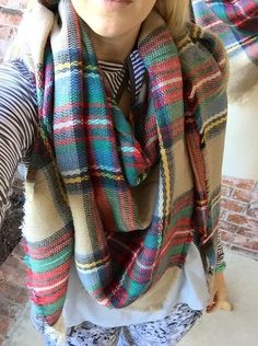 SALE! The Zara Tartan Plaid Blanket Scarf - Camel Multi Color check plaid. SAME QUALITY by LuELsDecor on Etsy