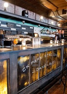 Kolo Klub, Hoboken, New Jersey Writing on bar in black and distressed Restaurant Concept, Cafe Restaurant, Restaurant Design, Cafe Bistro, Cafe Bar, Commercial Interior Design, Commercial Interiors, Bar Interior, Interior Decorating