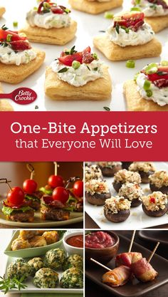 Think mini! These small bites are perfect for mixing and mingling at parties. And best of all, each recipe makes a big batch. Make Ahead Christmas Appetizers, One Bite Appetizers, Heavy Appetizers, Light Appetizers, Holiday Appetizers, Appetizer Recipes, Italian Appetizers, Cold Party Appetizers, Appetizer Buffet