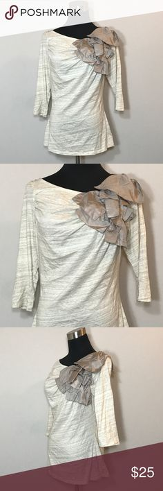 "Anthropologie Deletta Ruffle Shirt Women's Size M Anthropologie Deletta Ruffle beige Gray Shirt Women's Size Medium. New without tags! 100% cotton. Ruching where sleeve meets shirt on front right side and back left side. Bust 37"" (94cm). Length 24.5"" (62cm). Deletta Tops Blouses"