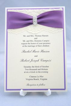 Purple Lace Wedding Invitation with Satin Ribbon by CheckaDesigns, $6.50