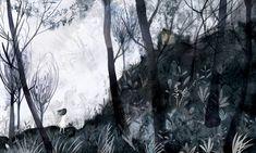 Adolfo Serra tiñe de oscuridad 'La casa de al lado', relato de Susanna Isern, que forma parte de Batiscafo, libro que Kireei publicará a comienzos de junio | 'La casa de al lado', spooky story written by Susanna Isern and illustrated by Adolfo Serra, is part of Batiscafo, the book that Kireei will publish soon.