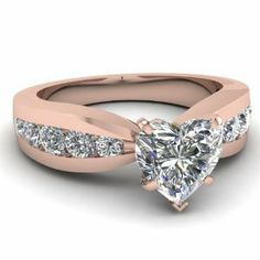 This also comes in yellow and white gold 1.70 Ct Heart Shaped Diamond Thinning Design Engagement Ring Channel Set SI1 GIA 14K