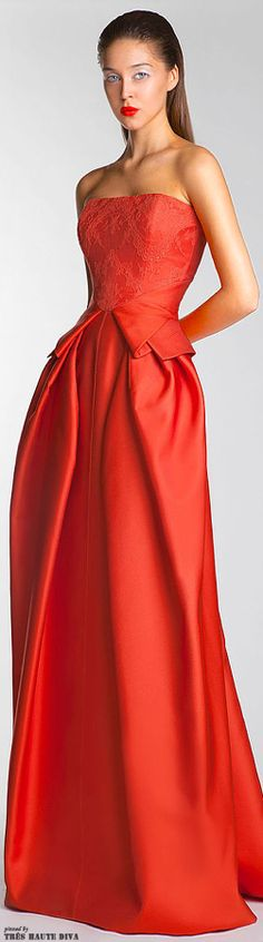 Spring / Summer - orange strapless peplum gown - Basil Soda S/S 2014