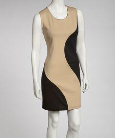 Loving this Beige Color Block Sheath Dress on #zulily! #zulilyfinds