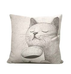 SUMMER SALE - Cat pillow made with natural linen-decorative throw pillow with cat and coffee print- animal print throw pillow. on Etsy, $21.99