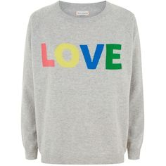 Chinti and Parker Rainbow Love Jumper ($355) ❤ liked on Polyvore featuring tops, sweaters, crew neck sweaters, crew-neck sweaters, cashmere crewneck sweater, gray crewneck sweater and j.crew cashmere sweaters