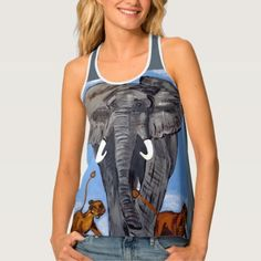 ELEPHANT TANK TOP - tap, personalize, buy right now! Fitness Models, Elephant, How To Make, How To Wear, Dress Up, Just For You, Feminine, Tank Tops, Pop Art