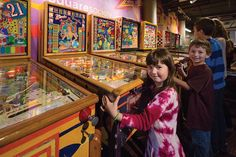Kids Playing Pinball at the Roanoke Pinball Museum.