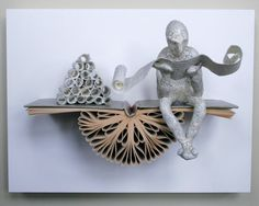Reader with Scrolls on Claybord Original Sculpture by Kenjio