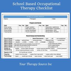 Pediatric occupational therapy and pediatric physical therapy forms and data collection in digital and printed format from Your Therapy Source Occupational Therapy Schools, Pediatric Occupational Therapy, Pediatric Ot, School Checklist, School Ot, School Ideas, School Forms, Medical School, Nursing Students