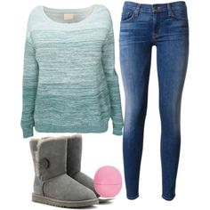 sweater weather by mustachemaniac03 on Polyvore featuring polyvore fashion style Band of Outsiders Hudson UGG Australia Eos