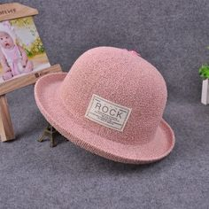 Summer Foldable Straw Hats Patch For Women ROCK Beach Headwear Hat Patches 827b4a6980b3