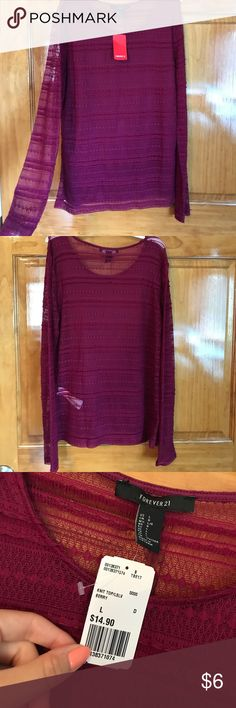 Forever 21 Shirt Forever 21 Long Sleeve lace shirt. Size large. Color: Maroon/purple. New with tags, never been worn! Forever 21 Tops Blouses