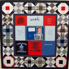 Bereavement quilt for Micah's brother Jonathan. T-shirts displayed in the middle, ringed by traditional blocks made from his cotton shirts.