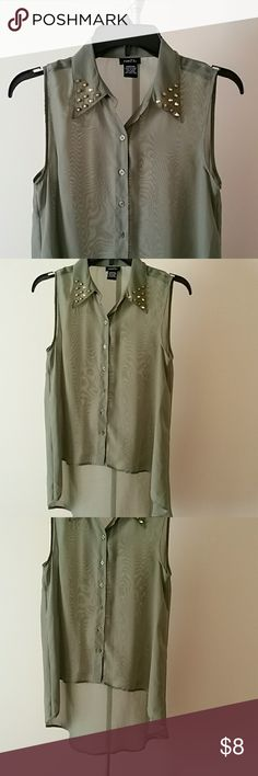 Rue21 Sheer Green Top w/stud collar New without tags. Studded Collar, high low style. Buttons down middle.  No flaws. Rue 21 Tops